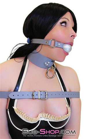 7064A      Bound By Grey Steel Grey Leather Bondage Collar - Sub-Shop.comCollar - 4