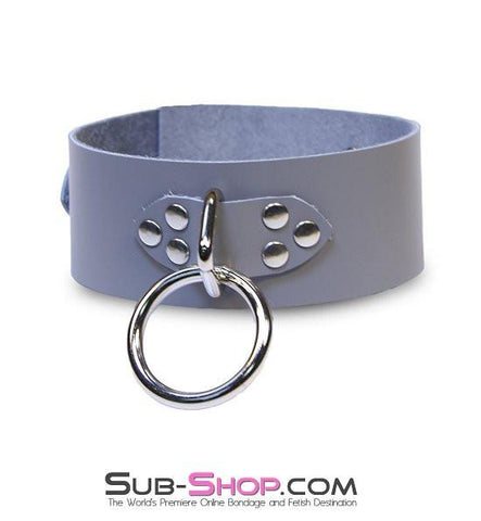 7064A      Bound By Grey Steel Grey Leather Bondage Collar - Sub-Shop.comCollar - 3