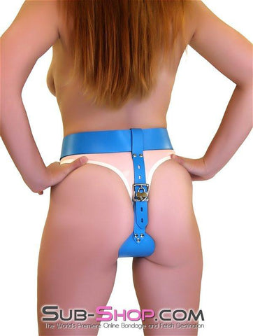 7077A      Candy Jar Locking Candy Blue Leather Female Chastity Belt - Sale BDSM, Bondage Gear, Adult Toys, Bondage Sex, Orgasm Belt, Male Chastity, Gags. Bondage Slave Collars, Wrist Cuffs, Submissive, Dominant, Master, Mistress, Crossdresser, Sub-Shop Bondage and Fetish Superstore