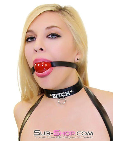 7172A      BITCH Black Leather Rhinestone Letter Collar - Sale BDSM, Bondage Gear, Adult Toys, Bondage Sex, Orgasm Belt, Male Chastity, Gags. Bondage Slave Collars, Wrist Cuffs, Submissive, Dominant, Master, Mistress, Crossdresser, Sub-Shop Bondage and Fetish Superstore