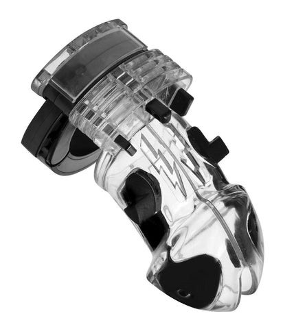 7247AR      Electro Stim Clear Polycarbonate Locking Cock Cage Chastity Device - Sub-Shop.comChastity - 3