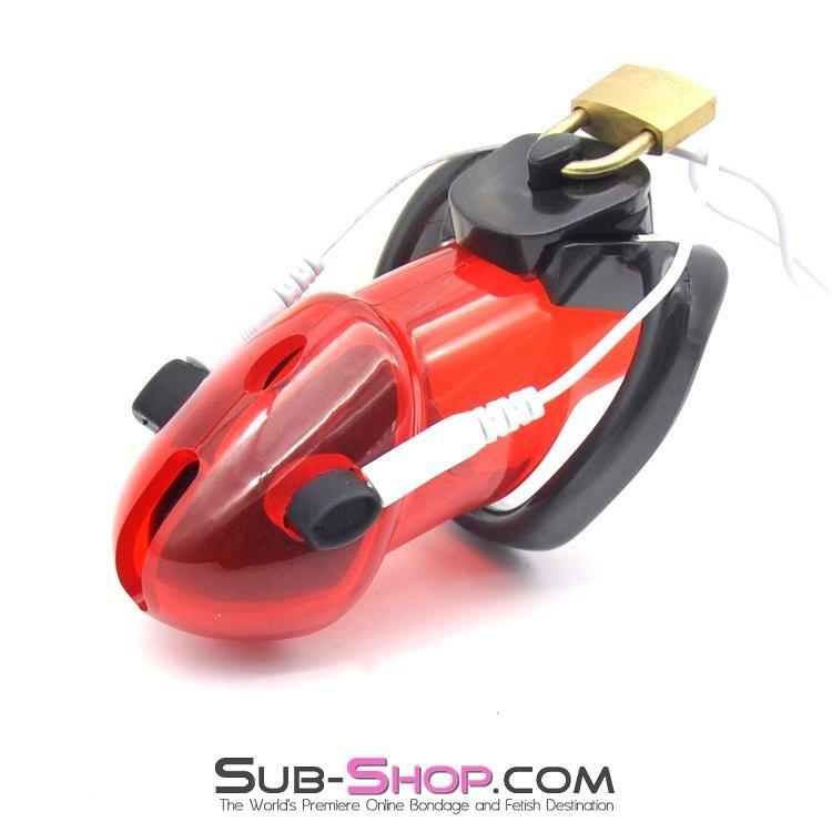 7258AR       Caught Red Handed Electro Sex Locking Chastity Cock Cage - Sale BDSM, Bondage Gear, Adult Toys, Bondage Sex, Orgasm Belt, Male Chastity, Gags. Bondage Slave Collars, Wrist Cuffs, Submissive, Dominant, Master, Mistress, Crossdresser, Sub-Shop Bondage and Fetish Superstore