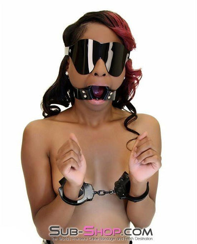 1492A   Black Luxe PVC Wide Strap Large Plastic Ring Gag - Sale BDSM, Bondage Gear, Adult Toys, Bondage Sex, Orgasm Belt, Male Chastity, Gags. Bondage Slave Collars, Wrist Cuffs, Submissive, Dominant, Master, Mistress, Crossdresser, Sub-Shop Bondage and Fetish Superstore