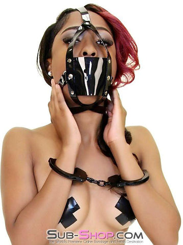 439A     Black Luxe PVC Cross Strap Panel Ball Gag Trainer - Sub-Shop.comGags - 6