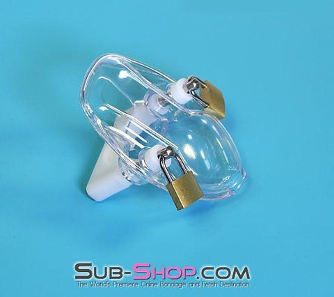7322AR      Clearly Crushed Locking Cock and Ball Chastity Torture Set - Sub-Shop.comChastity - 3