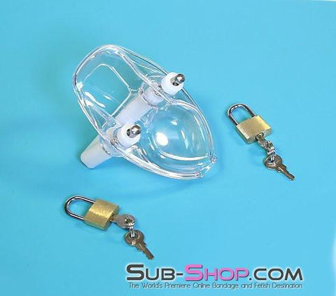 7322AR      Clearly Crushed Locking Cock and Ball Chastity Torture Set - Sale BDSM, Bondage Gear, Adult Toys, Bondage Sex, Orgasm Belt, Male Chastity, Gags. Bondage Slave Collars, Wrist Cuffs, Submissive, Dominant, Master, Mistress, Crossdresser, Sub-Shop Bondage and Fetish Superstore