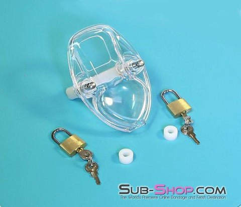7322AR      Clearly Crushed Locking Cock and Ball Chastity Torture Set - Sub-Shop.comChastity - 8