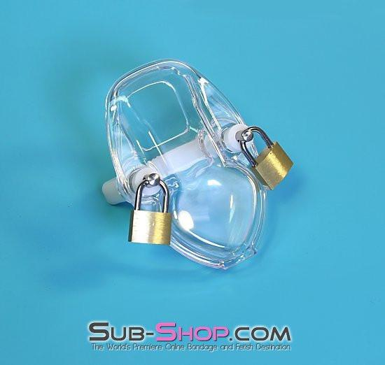 7322AR      Clearly Crushed Locking Cock and Ball Chastity Torture Set - <b>MEGA Deal</b> - Sale BDSM, Bondage Gear, Adult Toys, Bondage Sex, Orgasm Belt, Male Chastity, Gags. Bondage Slave Collars, Wrist Cuffs, Submissive, Dominant, Master, Mistress, Crossdresser, Sub-Shop Bondage and Fetish Superstore