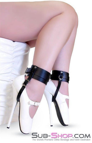 751A    Buckling Ankle & Shoe Cuffs, Black Leather - Sale BDSM, Bondage Gear, Adult Toys, Bondage Sex, Orgasm Belt, Male Chastity, Gags. Bondage Slave Collars, Wrist Cuffs, Submissive, Dominant, Master, Mistress, Crossdresser, Sub-Shop Bondage and Fetish Superstore