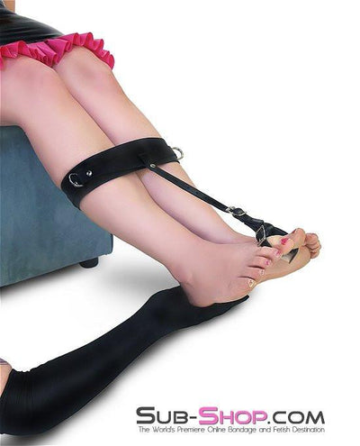 752A     Toe Bondage Ankle Cuff Trainer, Black Leather - Sale BDSM, Bondage Gear, Adult Toys, Bondage Sex, Orgasm Belt, Male Chastity, Gags. Bondage Slave Collars, Wrist Cuffs, Submissive, Dominant, Master, Mistress, Crossdresser, Sub-Shop Bondage and Fetish Superstore