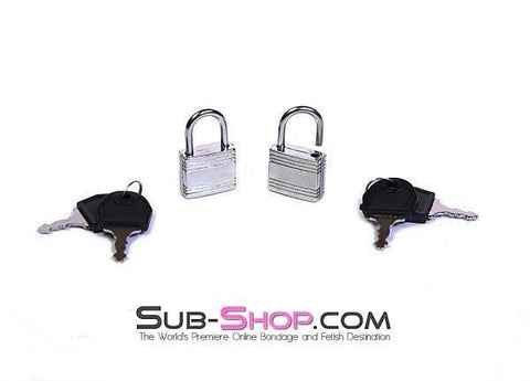 758A  Pair of Small Silver Bondage Gear Padlocks - Sub-Shop Bondage and Fetish Superstore