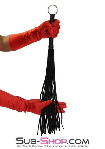 "7796DL      Suede Tail 24"" Flogger Whip with Satin Wrapped Handle and Hanging Ring - Sub-Shop.comWhip - 1"