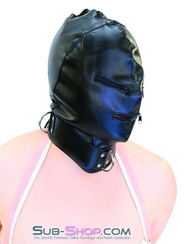 7803DL      Enslaved Full Hood with Collar, Zipper Eyes and Mouth - Sub-Shop.comHoods - 1