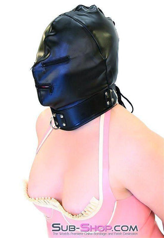 7803DL      Enslaved Full Hood with Collar, Zipper Eyes and Mouth - Sub-Shop.comHoods - 3