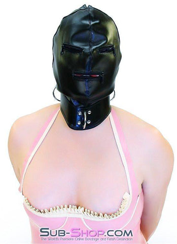 7803DL      Enslaved Full Hood with Collar, Zipper Eyes and Mouth - Sub-Shop.comHoods - 4