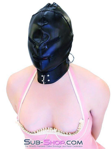 7803DL      Enslaved Full Hood with Collar, Zipper Eyes and Mouth - Sub-Shop.comHoods - 5