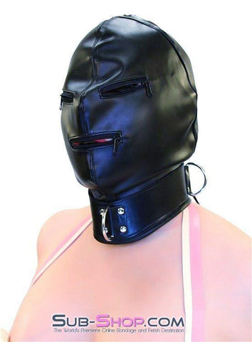 7803DL      Enslaved Full Hood with Collar, Zipper Eyes and Mouth - Sub-Shop.comHoods - 8