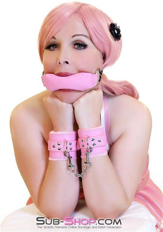 7832DL      Tickled Pink Fur Lined Locking Pink Wrist Bondage Cuffs - Sub-Shop.comCuffs - 1