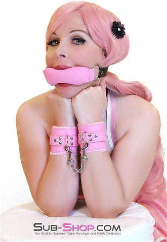 7832DL      Tickled Pink Fur Lined Locking Pink Wrist Bondage Cuffs - Sub-Shop.comCuffs - 3
