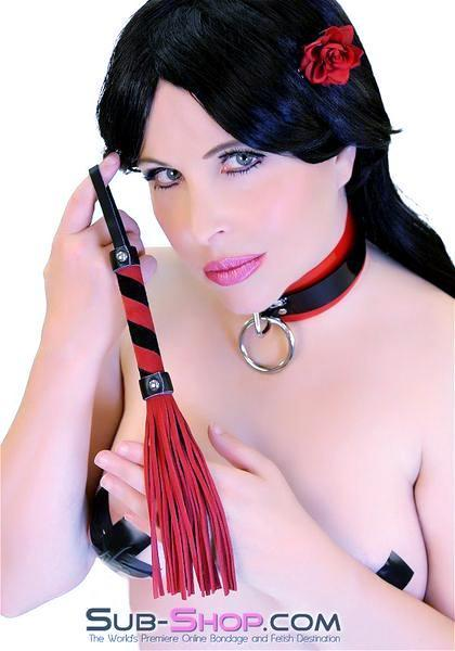 7852DL      Little Stinger Red & Black Suede Whip - <b>MEGA Deal!</b> - Sale BDSM, Bondage Gear, Adult Toys, Bondage Sex, Orgasm Belt, Male Chastity, Gags. Bondage Slave Collars, Wrist Cuffs, Submissive, Dominant, Master, Mistress, Crossdresser, Sub-Shop Bondage and Fetish Superstore
