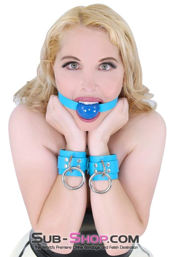 Candy Coated Locking Candy Blue Leather Wrist Bondage Cuffs - Sale BDSM, Bondage Gear, Adult Toys, Bondage Sex, Orgasm Belt, Male Chastity, Bondage Gag. Bondage Slave Collars, Wrist Cuffs, Submissive, Dominant, Master, Mistress, Cross Dressing, Sex Toys, Bondage Sale, Bondage Clearance, MEGA Deal Bondage, Sub-Shop Bondage and Fetish Superstore