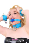 Candy Coated Locking Candy Blue Leather Bondage Collar - Sale BDSM, Bondage Gear, Adult Toys, Bondage Sex, Orgasm Belt, Male Chastity, Bondage Gag. Bondage Slave Collars, Wrist Cuffs, Submissive, Dominant, Master, Mistress, Cross Dressing, Sex Toys, Bondage Sale, Bondage Clearance, MEGA Deal Bondage, Sub-Shop Bondage and Fetish Superstore