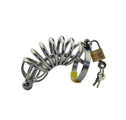 7856AR      Chastity Cock Cage with Removable Urethral Sound Catheter Plug - Sale BDSM, Bondage Gear, Adult Toys, Bondage Sex, Orgasm Belt, Male Chastity, Gags. Bondage Slave Collars, Wrist Cuffs, Submissive, Dominant, Master, Mistress, Crossdresser, Sub-Shop Bondage and Fetish Superstore