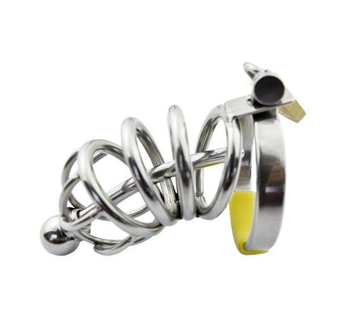 7857AR      Secret Crush Small Steel Cock Chastity Cage with Removable Urethral Sound Catheter Plug - Sale BDSM, Bondage Gear, Adult Toys, Bondage Sex, Orgasm Belt, Male Chastity, Gags. Bondage Slave Collars, Wrist Cuffs, Submissive, Dominant, Master, Mistress, Crossdresser, Sub-Shop Bondage and Fetish Superstore