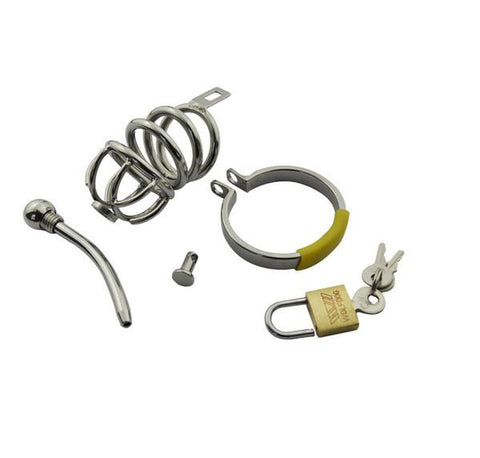 7857AR      Secret Crush Small Steel Cock Chastity Cage with Removable Urethral Sound Catheter Plug - Sub-Shop.comChastity - 3