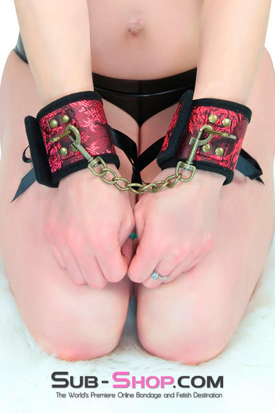 7916DL      Lusty Wench Brocade Lacing Wrist Cuffs - Sale BDSM, Bondage Gear, Adult Toys, Bondage Sex, Orgasm Belt, Male Chastity, Gags. Bondage Slave Collars, Wrist Cuffs, Submissive, Dominant, Master, Mistress, Crossdresser, Sub-Shop Bondage and Fetish Superstore