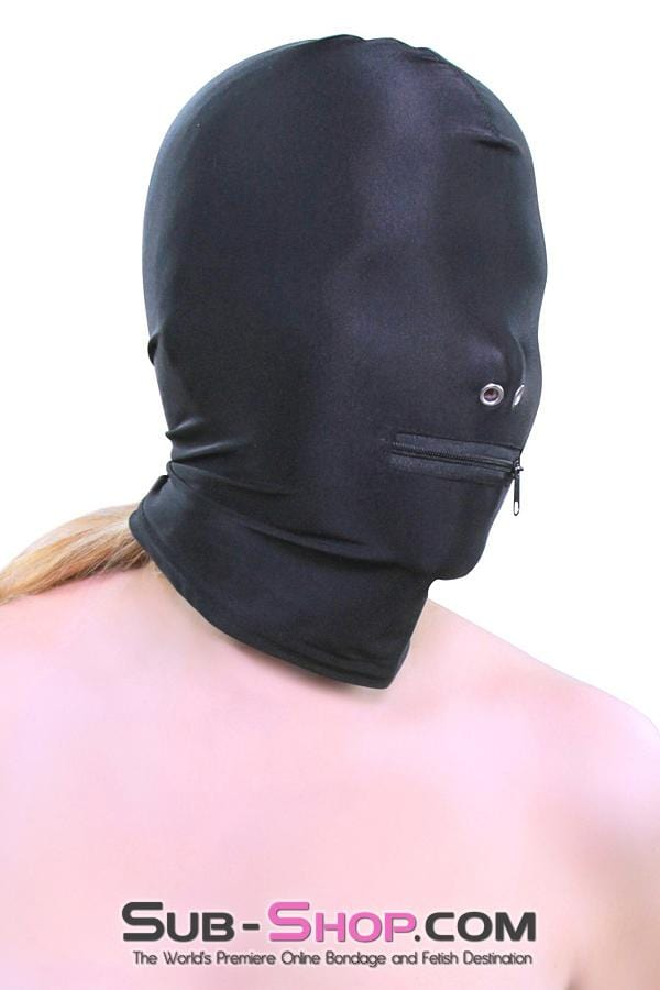 Zipper Mouth Soft Spandex Hood with Grometted Nose Holes - Sale BDSM, Bondage Gear, Adult Toys, Bondage Sex, Orgasm Belt, Male Chastity, Bondage Gag. Bondage Slave Collars, Wrist Cuffs, Submissive, Dominant, Master, Mistress, Cross Dressing, Sex Toys, Bondage Sale, Bondage Clearance, MEGA Deal Bondage, Sub-Shop Bondage and Fetish Superstore