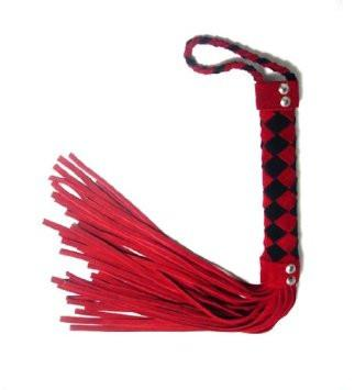851LT   Snappy Comeback Braided Black and Red Suede Flogger - Sale BDSM, Bondage Gear, Adult Toys, Bondage Sex, Orgasm Belt, Male Chastity, Gags. Bondage Slave Collars, Wrist Cuffs, Submissive, Dominant, Master, Mistress, Crossdresser, Sub-Shop Bondage and Fetish Superstore