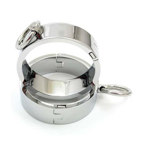 8703HS  Forever My Slave Chrome Ankle Manacles - Sale BDSM, Bondage Gear, Adult Toys, Bondage Sex, Orgasm Belt, Male Chastity, Gags. Bondage Slave Collars, Wrist Cuffs, Submissive, Dominant, Master, Mistress, Crossdresser, Sub-Shop Bondage and Fetish Superstore