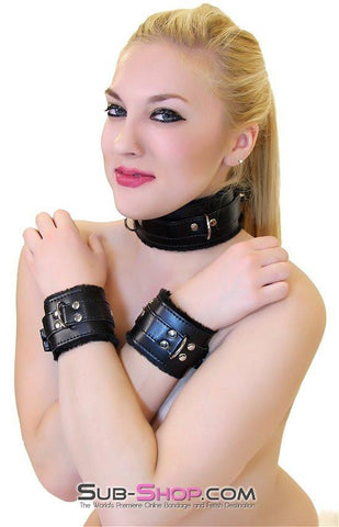 8749BD  Locking Fur Lined Wrist Cuffs - Sub-Shop.comCuffs - 3