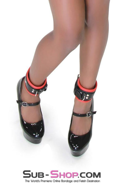 Slave to Fashion Lined Ankle Cuffs, Black Cuffs with Red Lining - Sale BDSM, Bondage Gear, Adult Toys, Bondage Sex, Orgasm Belt, Male Chastity, Bondage Gag. Bondage Slave Collars, Wrist Cuffs, Submissive, Dominant, Master, Mistress, Cross Dressing, Sex Toys, Bondage Sale, Bondage Clearance, MEGA Deal Bondage, Sub-Shop Bondage and Fetish Superstore
