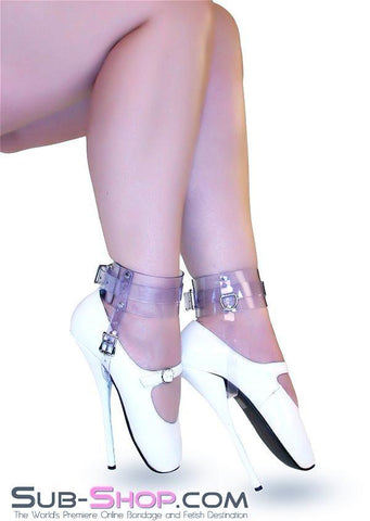8784A  Clear Luxe PVC Buckling Ankle/Shoe Cuffs - Sale BDSM, Bondage Gear, Adult Toys, Bondage Sex, Orgasm Belt, Male Chastity, Gags. Bondage Slave Collars, Wrist Cuffs, Submissive, Dominant, Master, Mistress, Crossdresser, Sub-Shop Bondage and Fetish Superstore