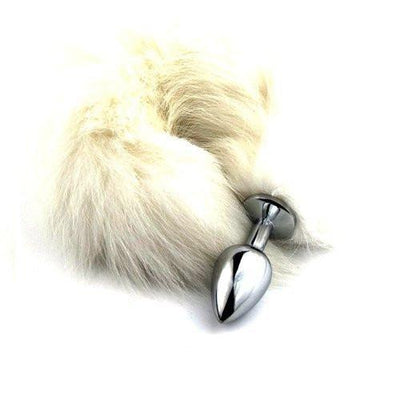 8874M      Platinum Pussy Cat Chrome Kitty Tail Butt Plug - Sale BDSM, Bondage Gear, Adult Toys, Bondage Sex, Orgasm Belt, Male Chastity, Gags. Bondage Slave Collars, Wrist Cuffs, Submissive, Dominant, Master, Mistress, Crossdresser, Sub-Shop Bondage and Fetish Superstore