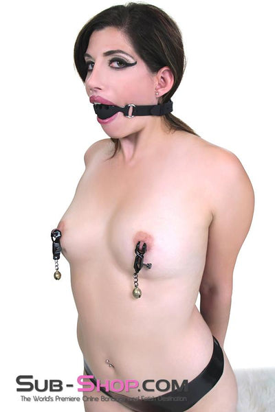 8890M      Bells and Whistles Belled Adjustable Nipple Clamps - Sale BDSM, Bondage Gear, Adult Toys, Bondage Sex, Orgasm Belt, Male Chastity, Gags. Bondage Slave Collars, Wrist Cuffs, Submissive, Dominant, Master, Mistress, Crossdresser, Sub-Shop Bondage and Fetish Superstore