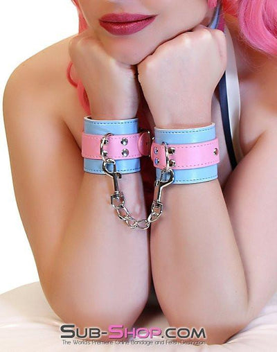 8948DL      Paradise Wrist Cuffs with Chained Connection Clips - Sale BDSM, Bondage Gear, Adult Toys, Bondage Sex, Orgasm Belt, Male Chastity, Gags. Bondage Slave Collars, Wrist Cuffs, Submissive, Dominant, Master, Mistress, Crossdresser, Sub-Shop Bondage and Fetish Superstore