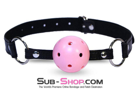 9001DL     Breather Ball Gag, Pink Ball - Sale BDSM, Bondage Gear, Adult Toys, Bondage Sex, Orgasm Belt, Male Chastity, Gags. Bondage Slave Collars, Wrist Cuffs, Submissive, Dominant, Master, Mistress, Crossdresser, Sub-Shop Bondage and Fetish Superstore