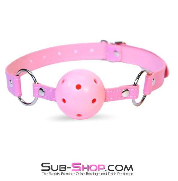 9002DL     Pink Breather Ball Gag - <b>MEGA Deal</b> - Sale BDSM, Bondage Gear, Adult Toys, Bondage Sex, Orgasm Belt, Male Chastity, Gags. Bondage Slave Collars, Wrist Cuffs, Submissive, Dominant, Master, Mistress, Crossdresser, Sub-Shop Bondage and Fetish Superstore