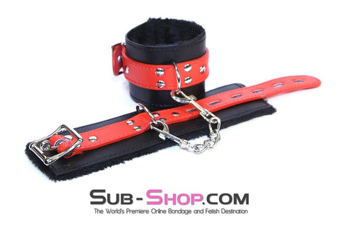 9014DL     Comfy Captive Locking Fur Lined Wrist Bondage Cuffs Set - Sale BDSM, Bondage Gear, Adult Toys, Bondage Sex, Orgasm Belt, Male Chastity, Gags. Bondage Slave Collars, Wrist Cuffs, Submissive, Dominant, Master, Mistress, Crossdresser, Sub-Shop Bondage and Fetish Superstore