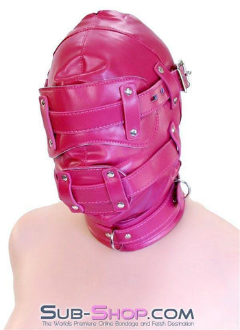 9040DL      Total Lockdown Locking Raspberry Full Hood with Removable Blindfold and Penis Gag - Sub-Shop.comHoods - 4