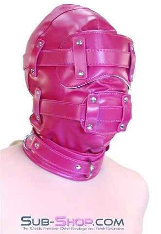 9040DL      Total Lockdown Locking Raspberry Full Hood with Removable Blindfold and Penis Gag - Sub-Shop.comHoods - 3