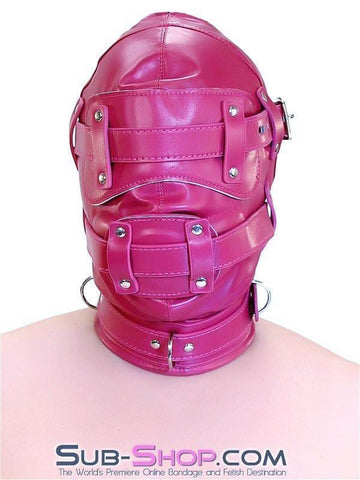9040DL      Total Lockdown Locking Raspberry Full Hood with Removable Blindfold and Penis Gag - Sub-Shop.comHoods - 2
