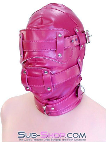 9040DL      Total Lockdown Locking Raspberry Full Hood with Removable Blindfold and Penis Gag - Sub-Shop.comHoods - 7