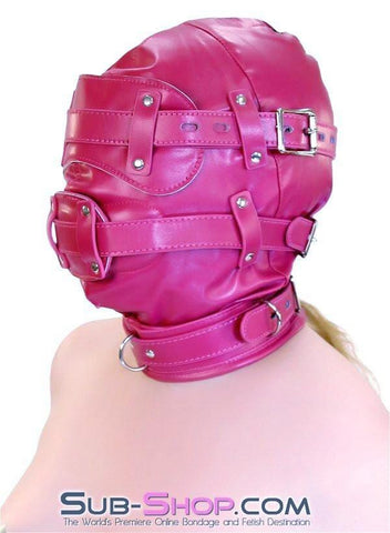 9040DL      Total Lockdown Locking Raspberry Full Hood with Removable Blindfold and Penis Gag - Sub-Shop.comHoods - 5