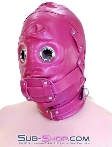 9040DL      Total Lockdown Locking Raspberry Full Hood with Removable Blindfold and Penis Gag - Sub-Shop.comHoods - 8