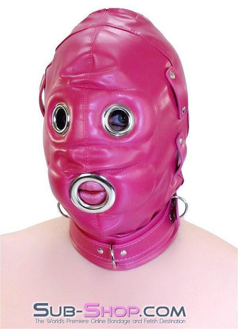 9040DL      Total Lockdown Locking Raspberry Full Hood with Removable Blindfold and Penis Gag - Sub-Shop.comHoods - 9