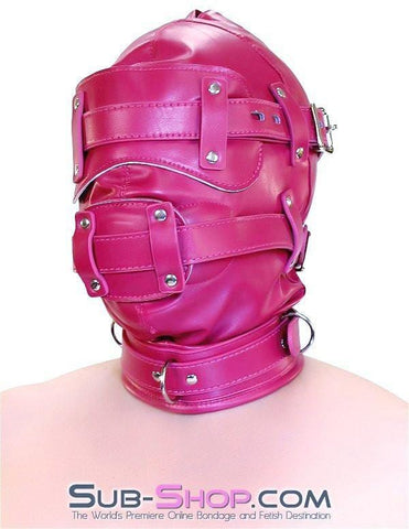 9040DL      Total Lockdown Locking Raspberry Full Hood with Removable Blindfold and Penis Gag - Sub-Shop.comHoods - 1